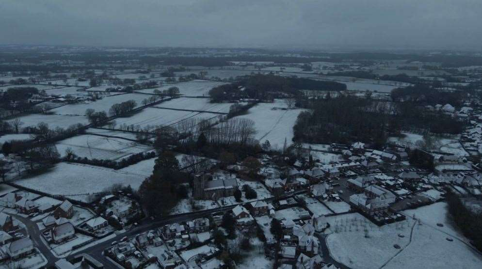 Parts of Kent woke up to snow this morning, including Bethersden, near Ashford. Picture: Simon Bates