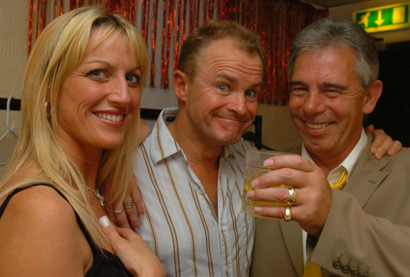 Bobby Davro with owners Tommy and Lee Dunne