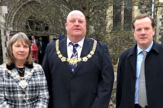 Herald commemoration.Pictured are Cllrs Chandler and Rix and Charlie Elphicke. Picture courtesy of MP Charlie Elphicke