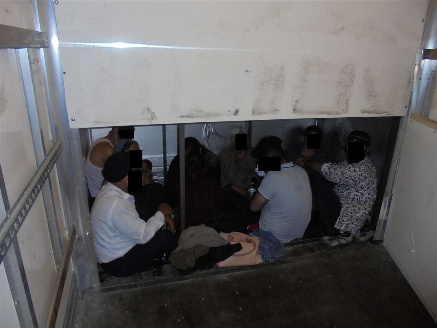 The hide exposed showing some of the people concealed inside. Picture: Home Office