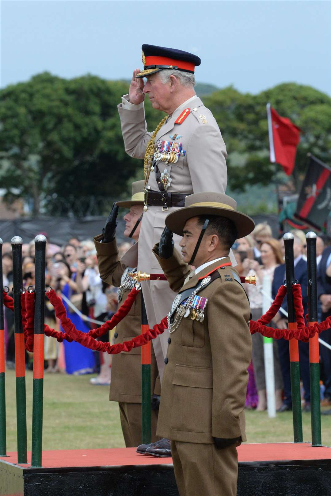 Prince Charles takes the Royal Salute during his visit to the barracks. Picture: Chris Davey
