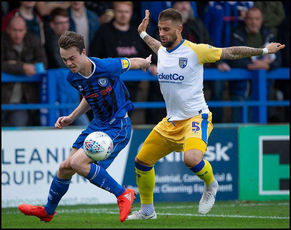 Max Ehmer in action for Gillingham at Rochdale Picture: Ady Kerry