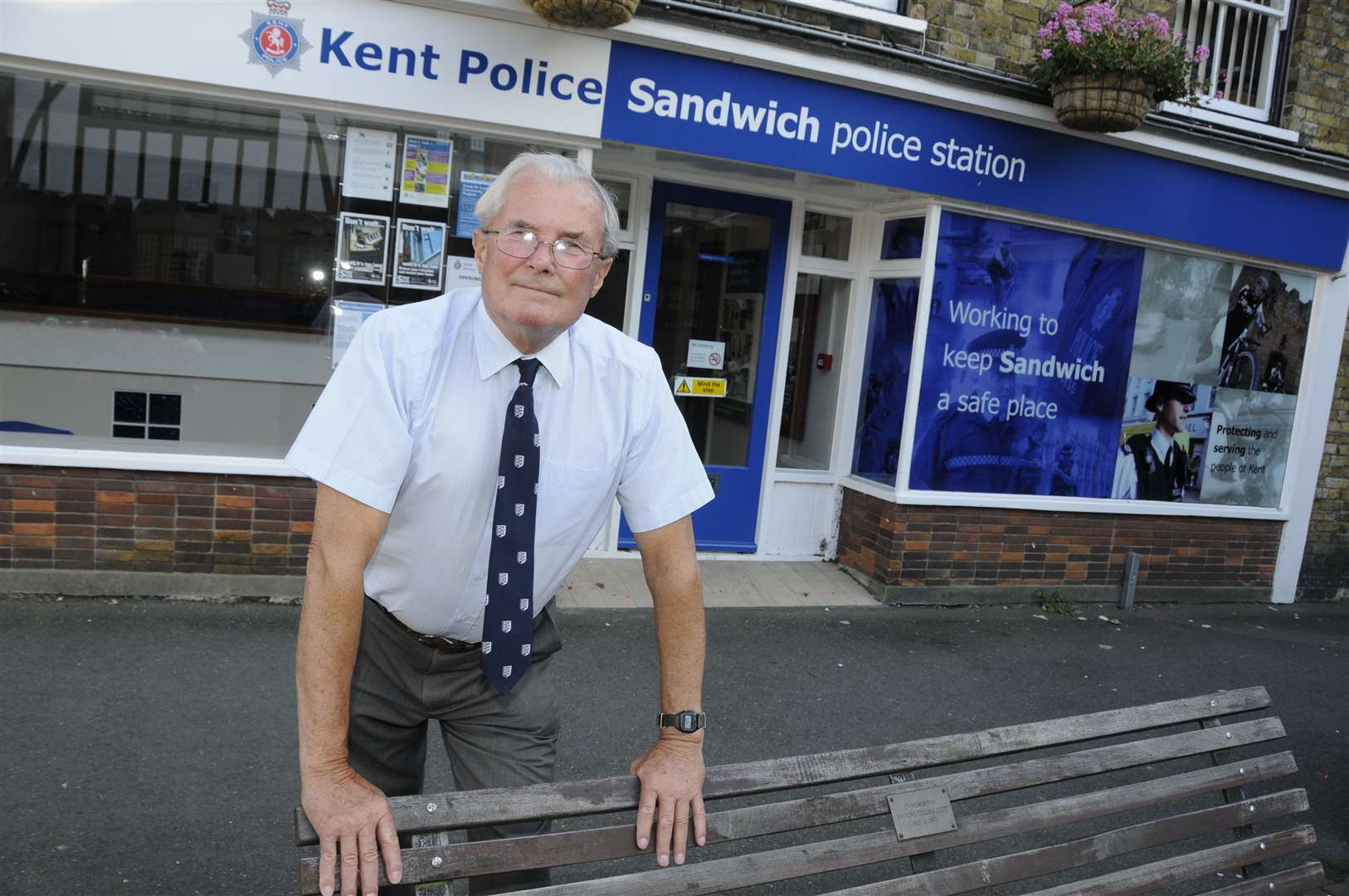 Then Mayor of Sandwich Cllr Jeremy Watts outside Sandwich Police Station before it was due to close