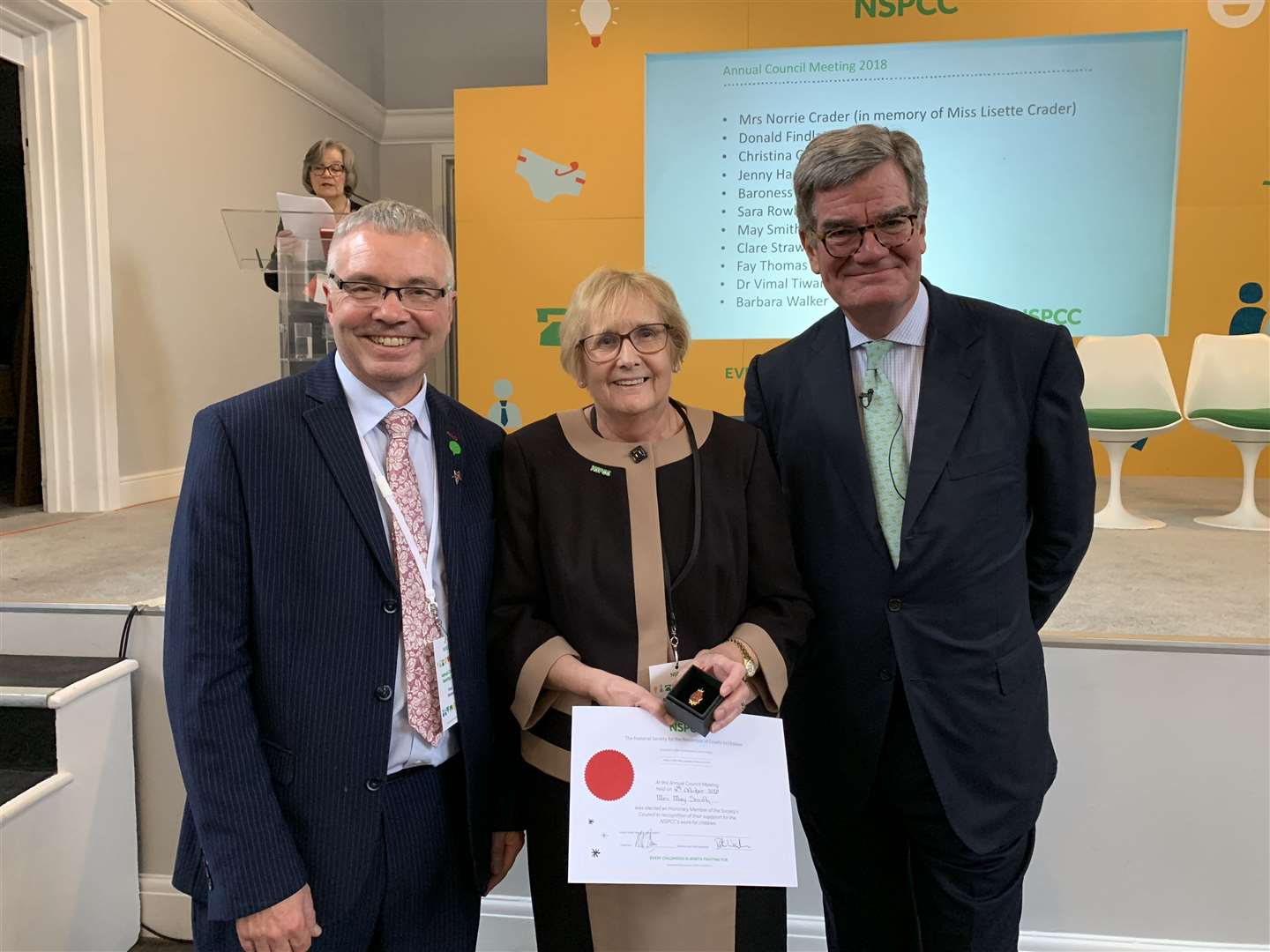 NSPCC chief executive Peter Wanless, May Glassford Smith and NSPCC chairman Mark Wood. (11914790)