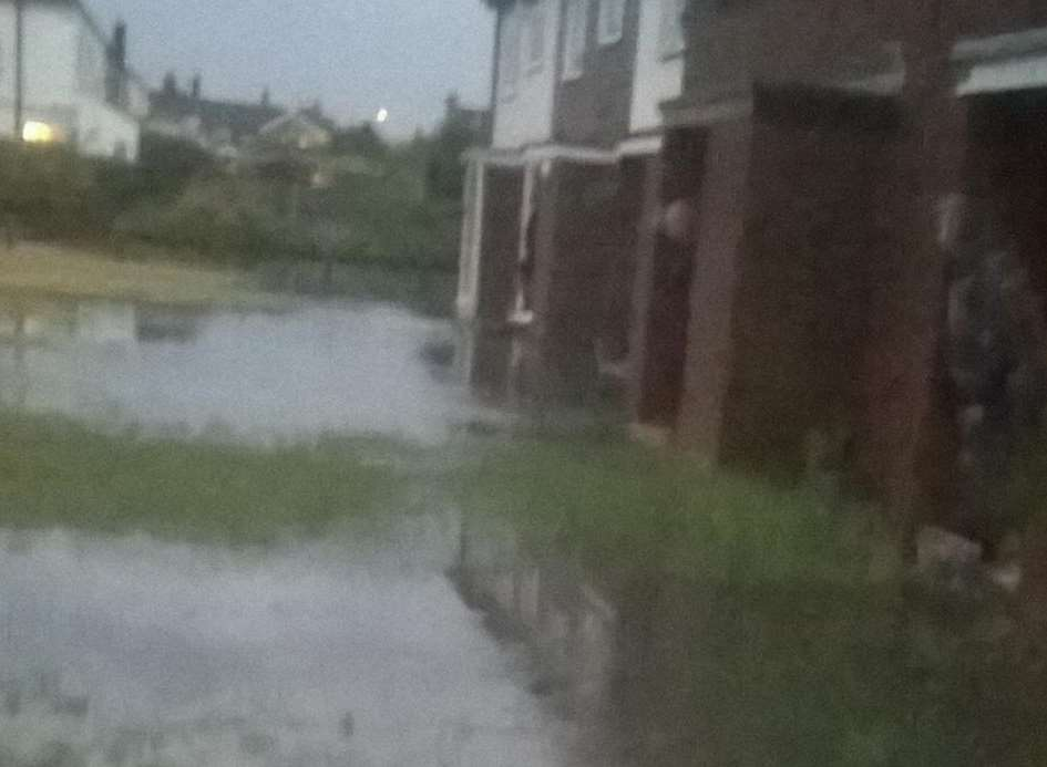 Flooding in Castlemere Avenue, Queenborough