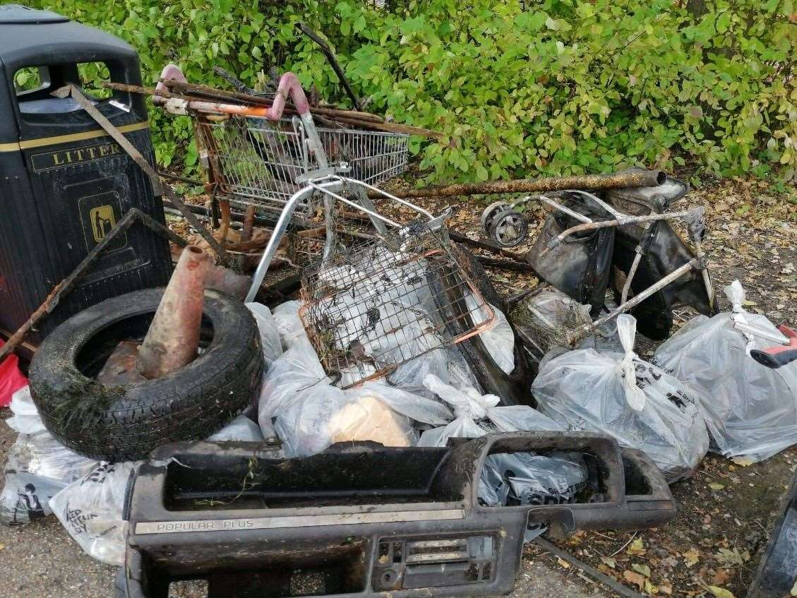 Some of the rubbish pulled from the River Stour in Canterbury
