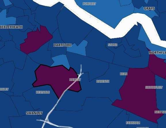 The Covid-19 infection rates in Dartford. Pic: Public Health England