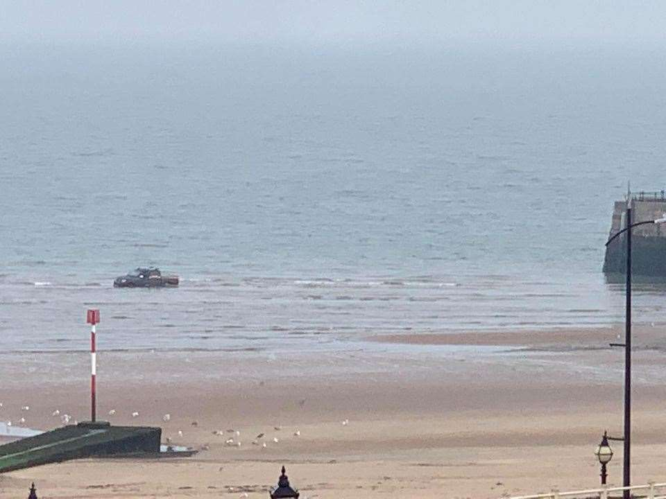 The vehicle was spotted disappearing into the waves this morning. Picture: Ginta Hremenkina