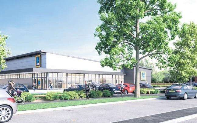 An artist's impression of the new Aldi supermarket in Dymchurch Road