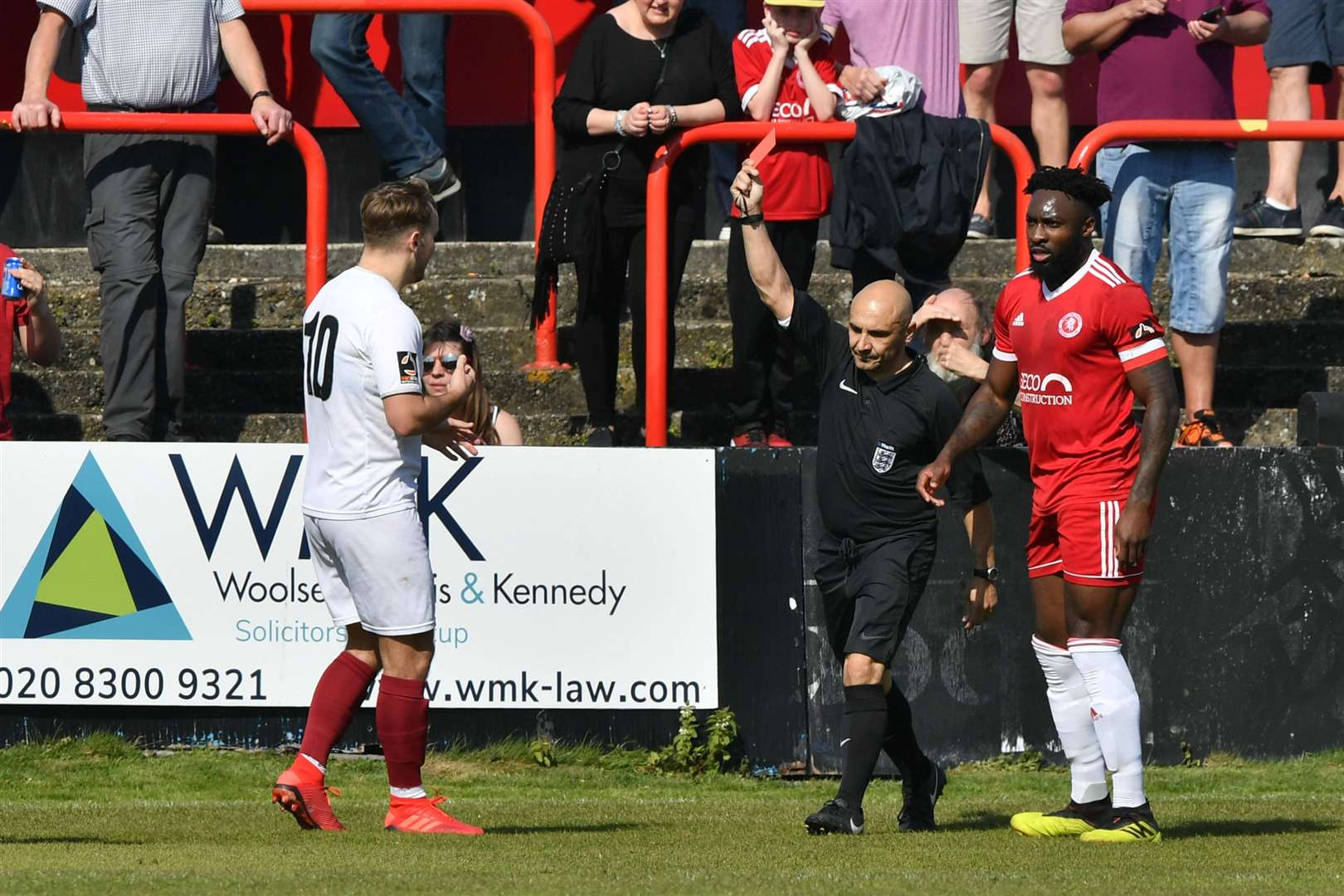 Chelmsford's Chez Isaac is sent-off by referee Matty Buonassisi against Welling. Picture: Keith Gillard (8874691)
