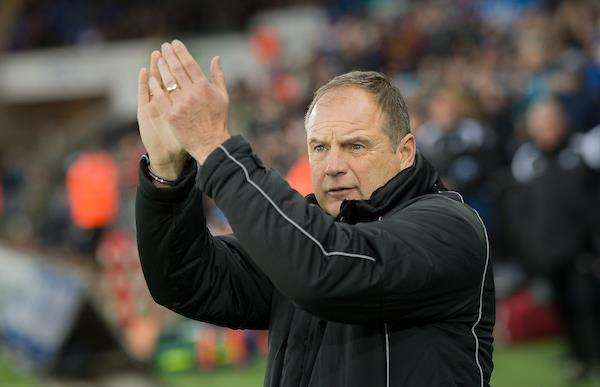 Gillingham boss Steve Lovell thanks the away fans at Swansea Picture: Ady Kerry (6790296)
