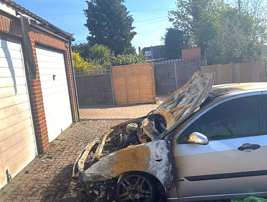 The Ford Focus which was destroyed in a fire in Elmstone Lane, Maidstone, last night