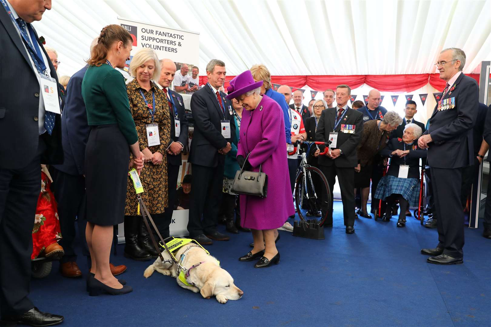 The Queen seemed very pleased to see a dog at the village