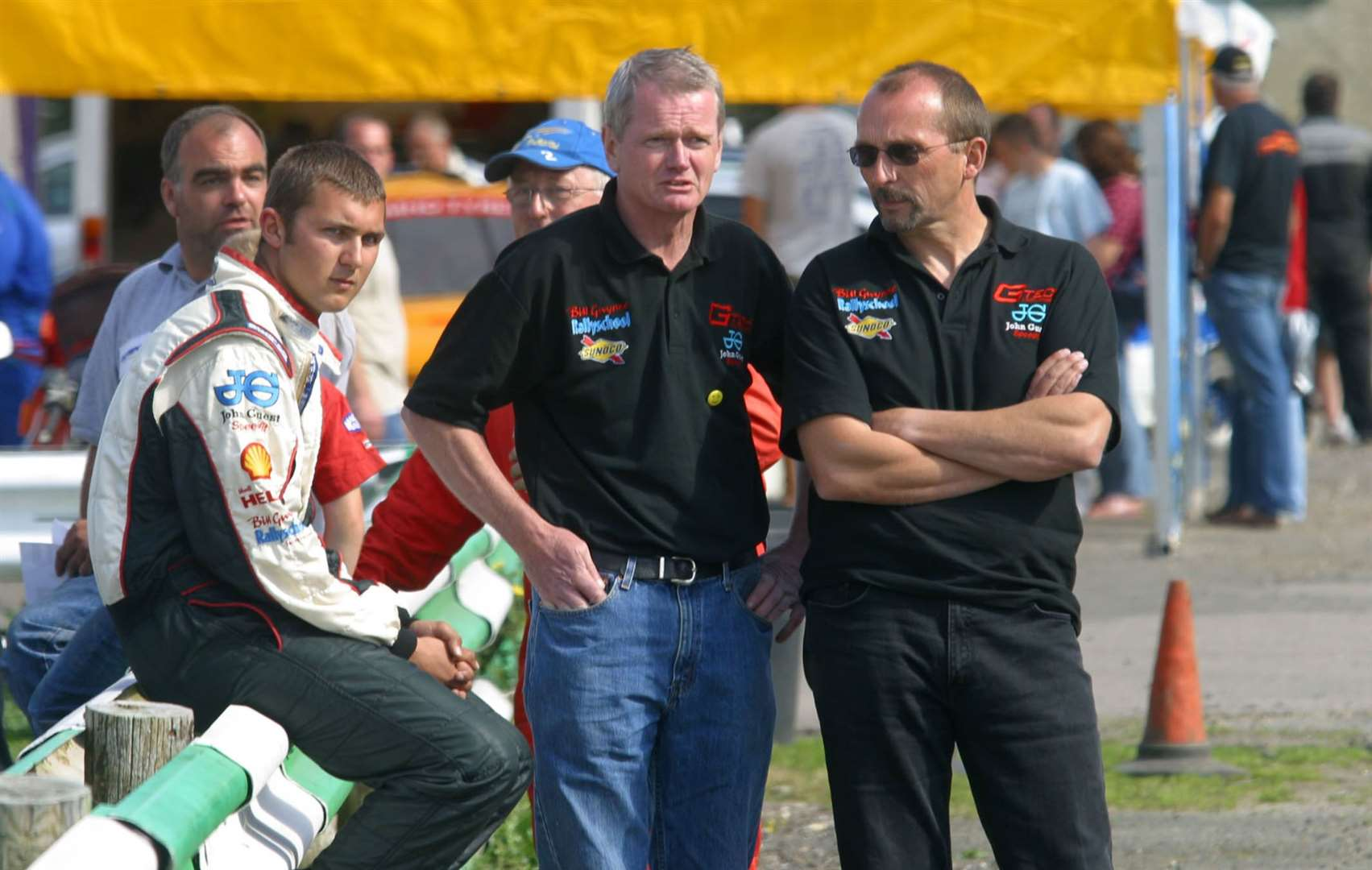 Learning from the best: A fresh-faced Andrew Jordan at Lydden Hill in August 2007 with his dad, Mike, and 1992 European Rallycross champion Will Gollop. Picture: RallycrossWorld.com