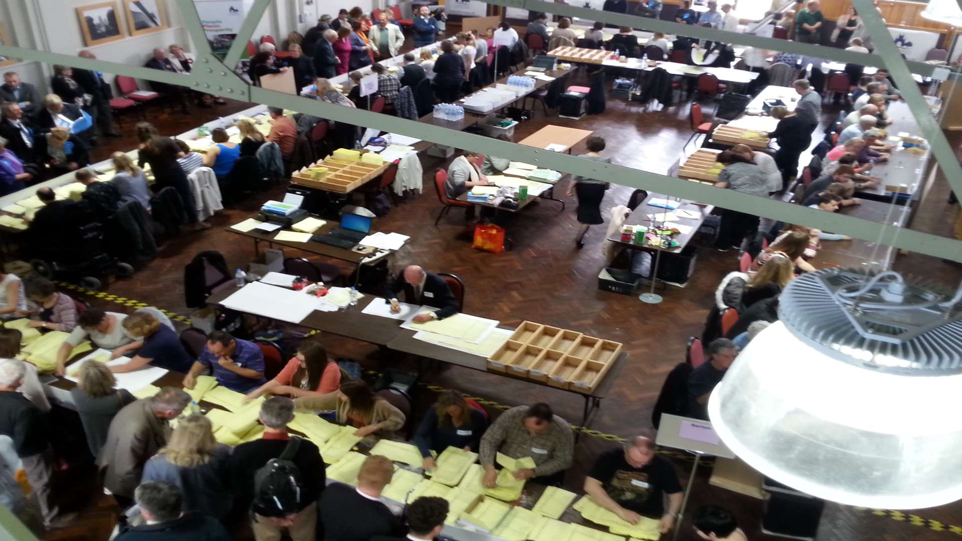 The city council election count at the Westgate Hall
