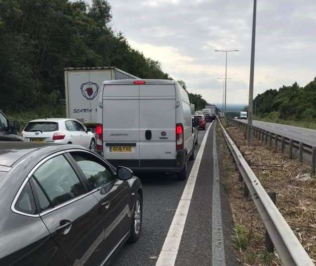 Drivers were stuck at a standtill for hours during roadworks on the M2. Pic: Phil Day