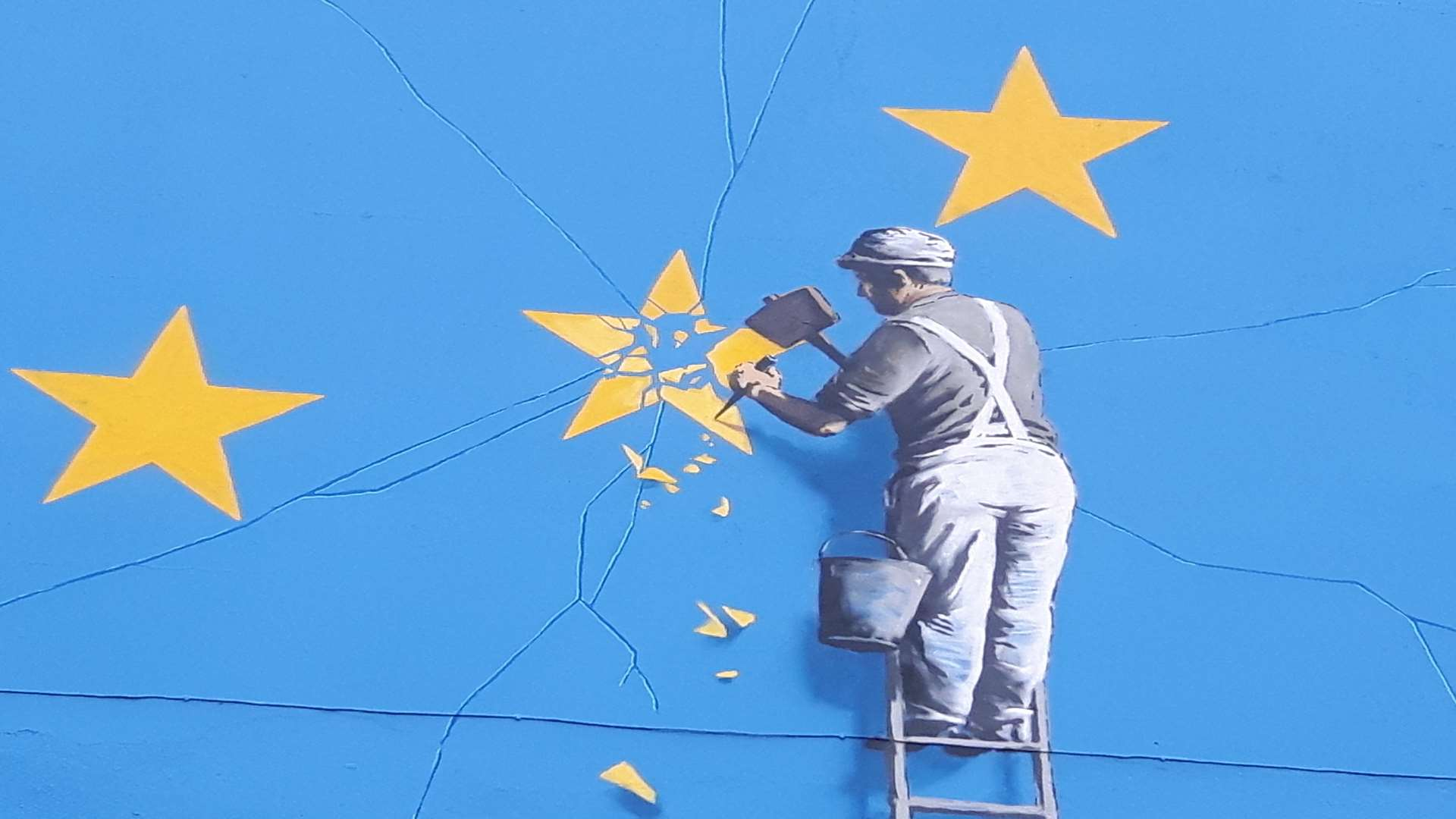 Close-up of the Banksy Brexit artwork in Dover