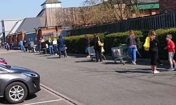 Two-metre gaps between shoppers queuing at Morrisons in Maidstone