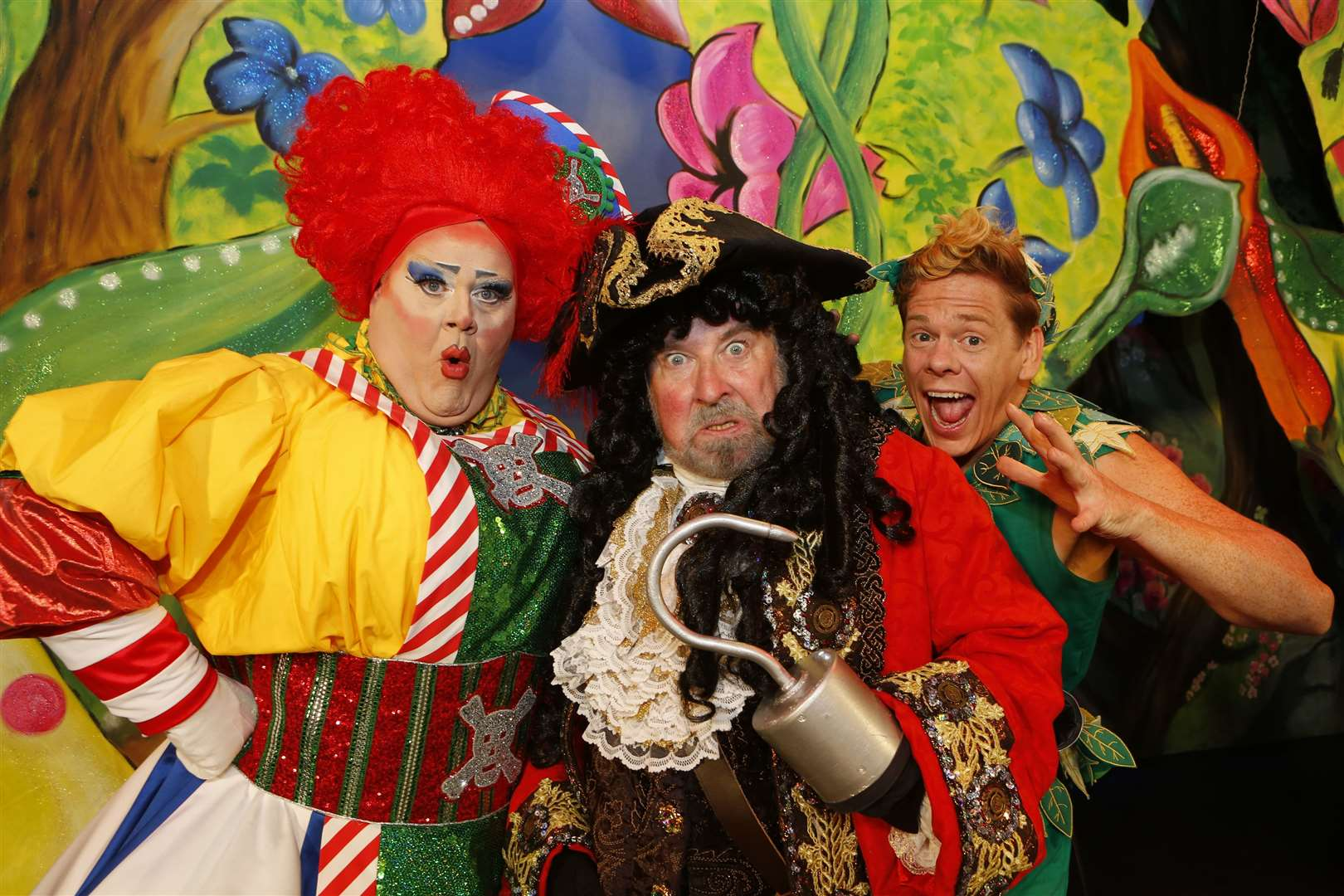 Panto launch for Peter Pan..Pictured are Quinn Patrick (Mrs Smee), Paul Bradley (Captain Hook) & Lloyd Warbey (Peter Pan) .Assembly Hall Theatre, Tunbridge Wells..Picture: Andy Jones. (16997009)