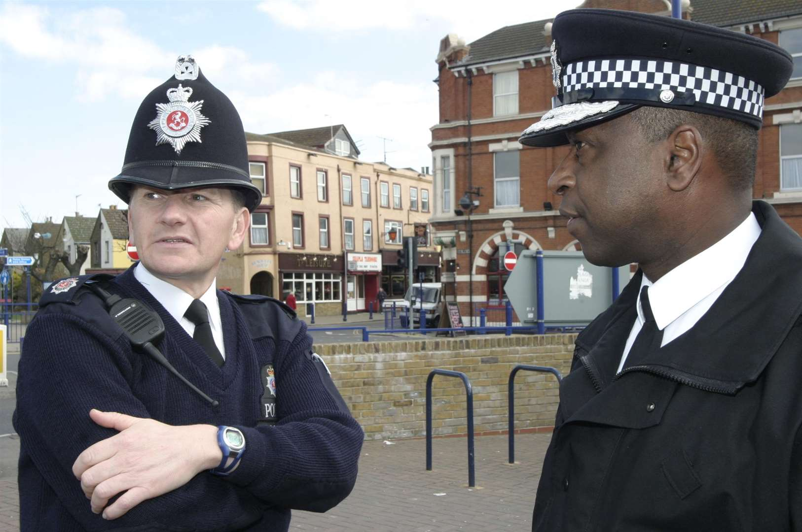As Kent Chief Constable, Michael Fuller goes on patrol with one of his officers, PC Bob Fursley, in Sheerness