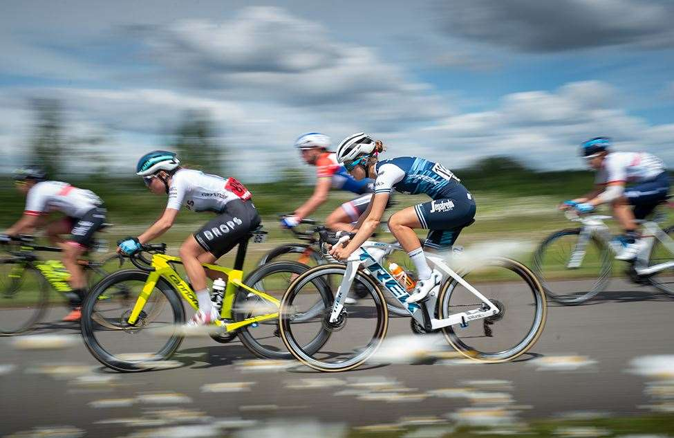 Riders negotiate the Cyclopark in Gravesend during the OVO Energy Women's Tour Picture: Ady Kerry