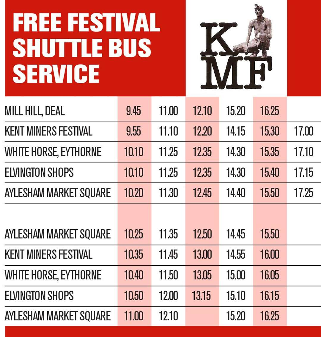 The bus to the Kent Miners Festival is free but spaces are limited
