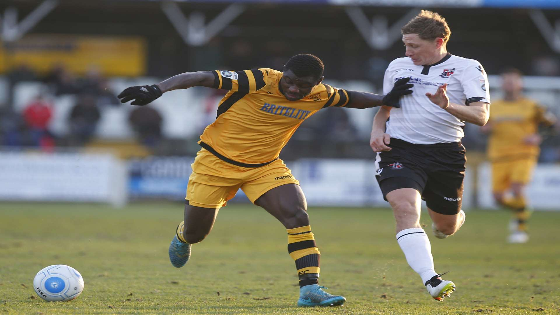 Seth Twumasi on his last Maidstone appearance at Bromley Picture: Andy Jones