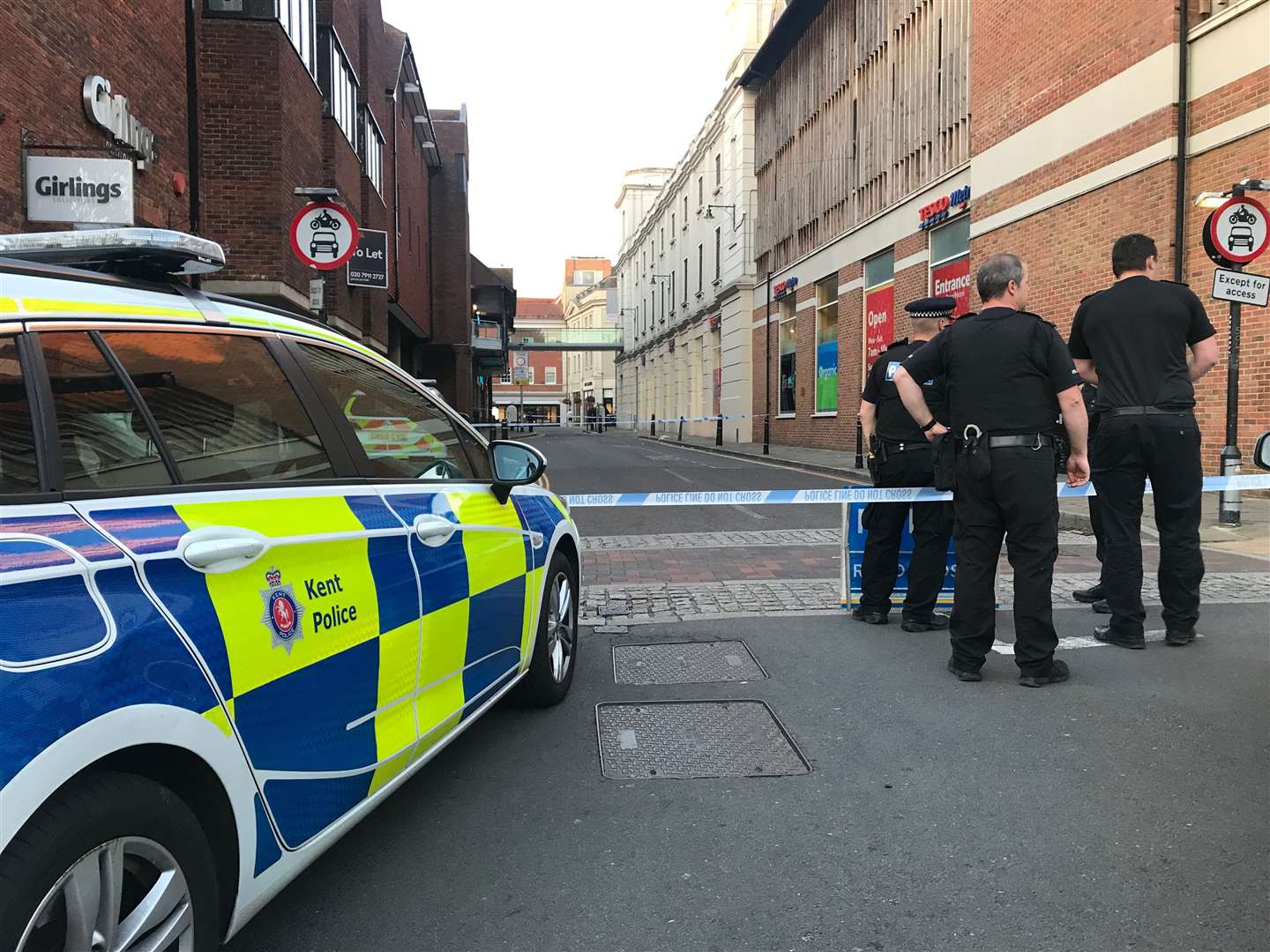 Police at the scene of the assault
