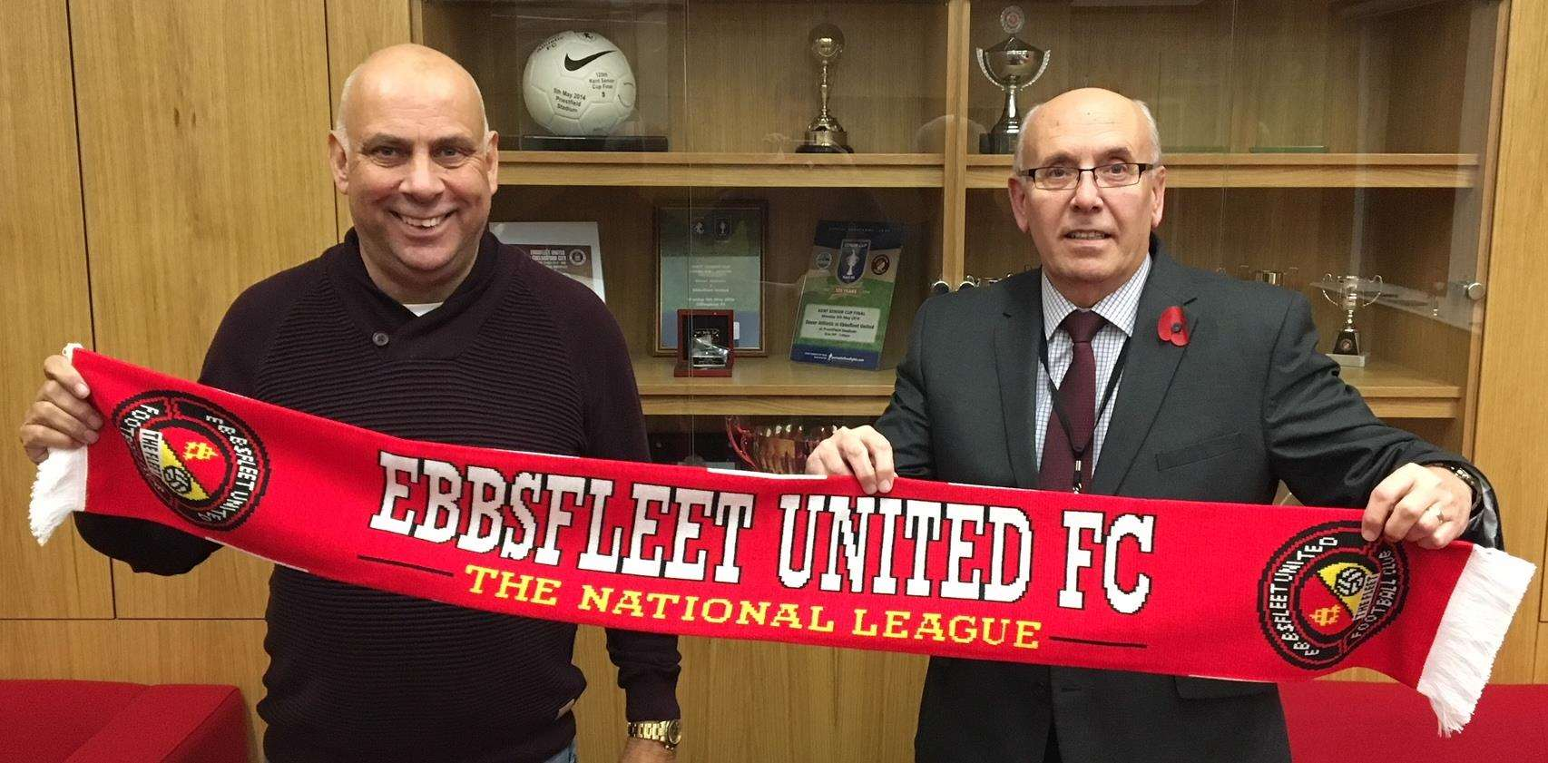 New Fleet boss Garry Hill (left) with club director Dave Archer. Picture: EUFC