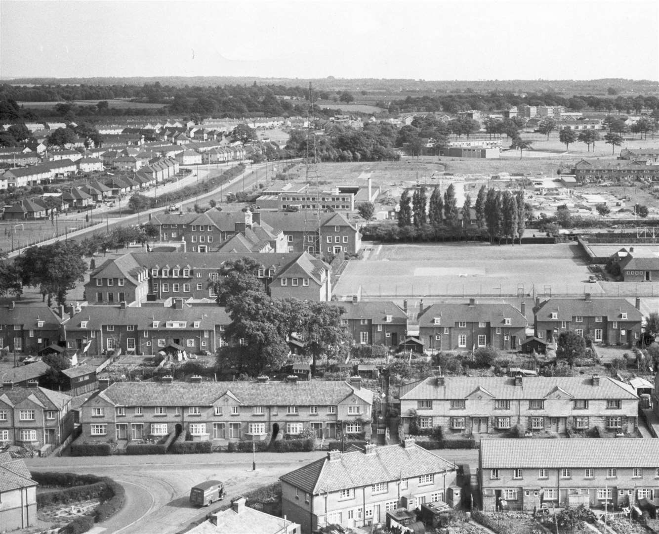 An aerial view of the Sutton Road headquarters in 1959
