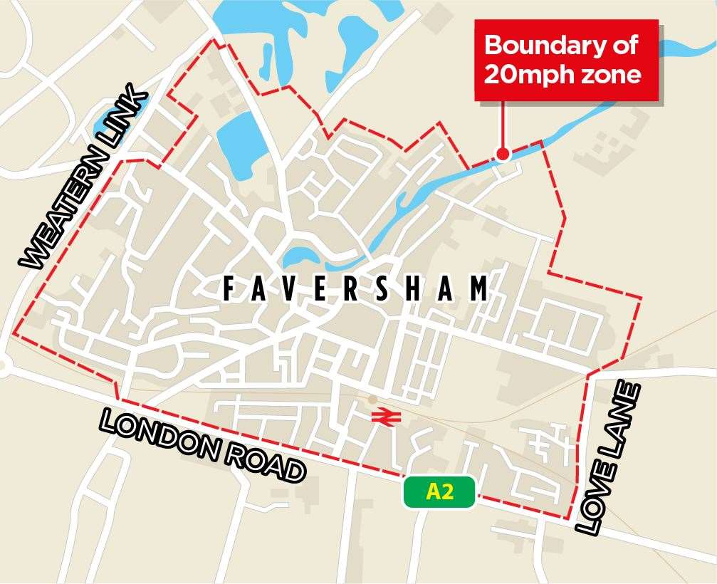 The proposed 20mph zone in Faversham