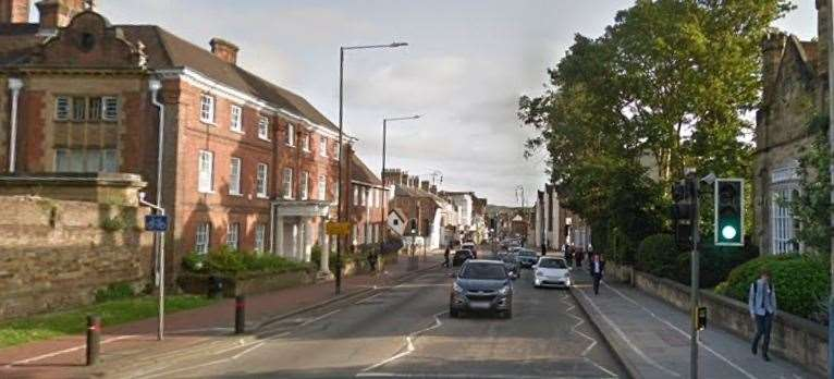 Part of Tonbridge High Street will be blocked from Monday. Picture: Google street view