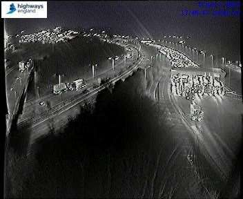 Traffic cameras showed traffic being held after the crash on the M20. Picture: Highways England (6453857)