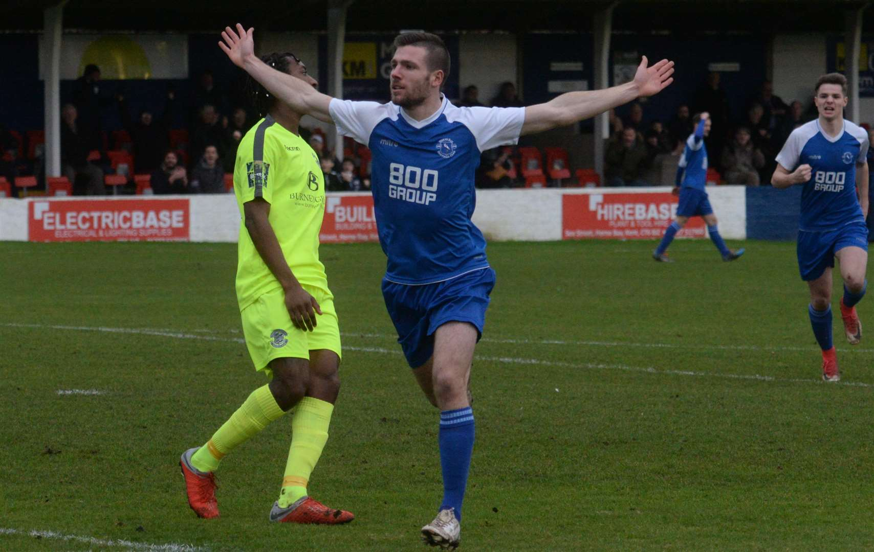 Danny Leonard celebrates after scoring the opening goal for Herne Bay against Hastings on Saturday Picture: Chris Davey