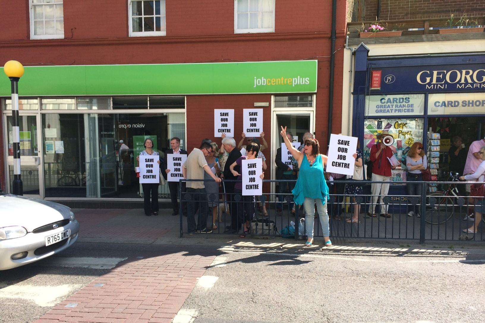 Campaigners outside the Whitstable job centre
