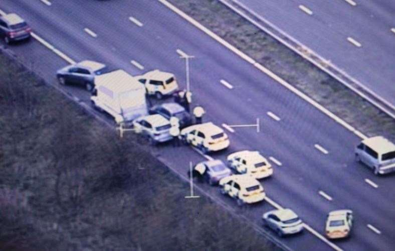 Police swoop on avan on the M5 at Cullompton, Deveon. Picture: NPAS (8619750)