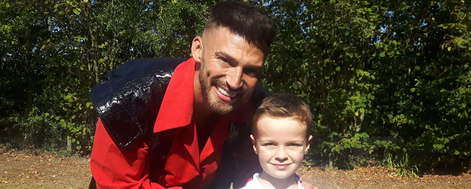 Jake Quickenden meets six-year-old Ted Walker at the panto launch