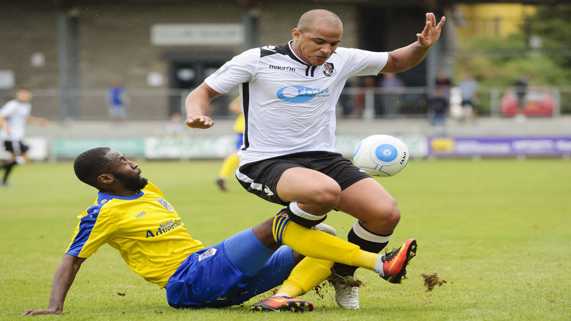 Dartford left-back Tom Wynter is challenged against Maidenhead earlier in the season. Picture: Andy Payton