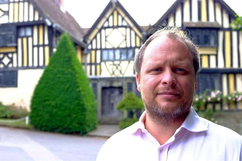 Chairman Alex Durtnell at Poundsbridge Manor in Penshurst, the oldest surviving house built by his firm in 1593