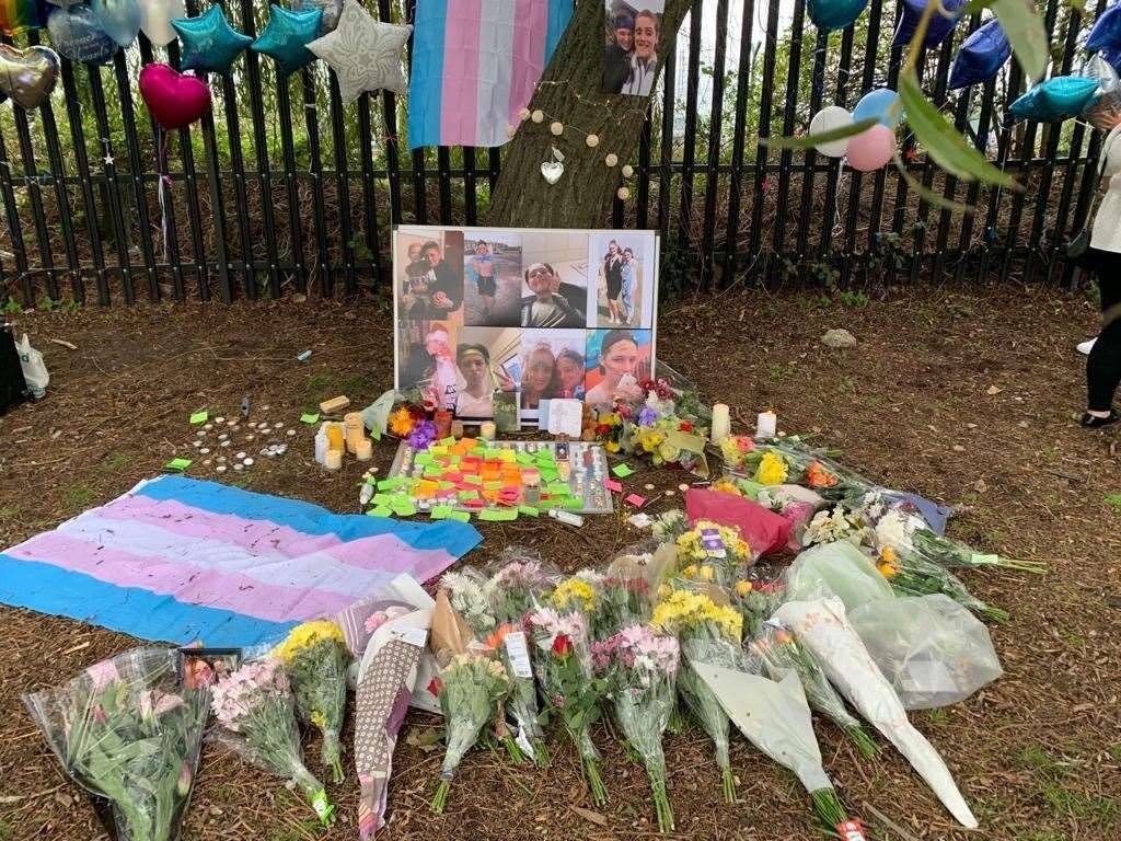 Floral tributes to Ellis Murphy-Richards at New Road playing fields, Sheerness