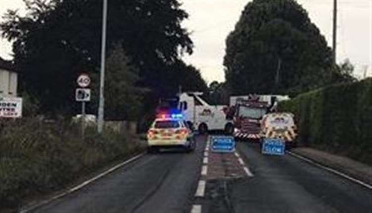 Emergency services at the A2 lorry crash near the Tuck Inn cafe, Newington, Sittingbourne. Picture: Gary Pinky (16497211)