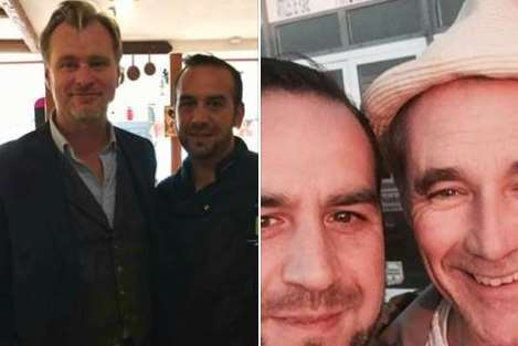 Christopher Nolan (picture on the left) and Mark Rylance (left) with staff at La Cocotte restaurant.