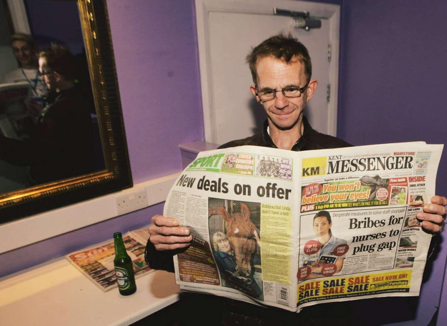 The Wealdstone Raider reads the Kent Messenger at Wonderland