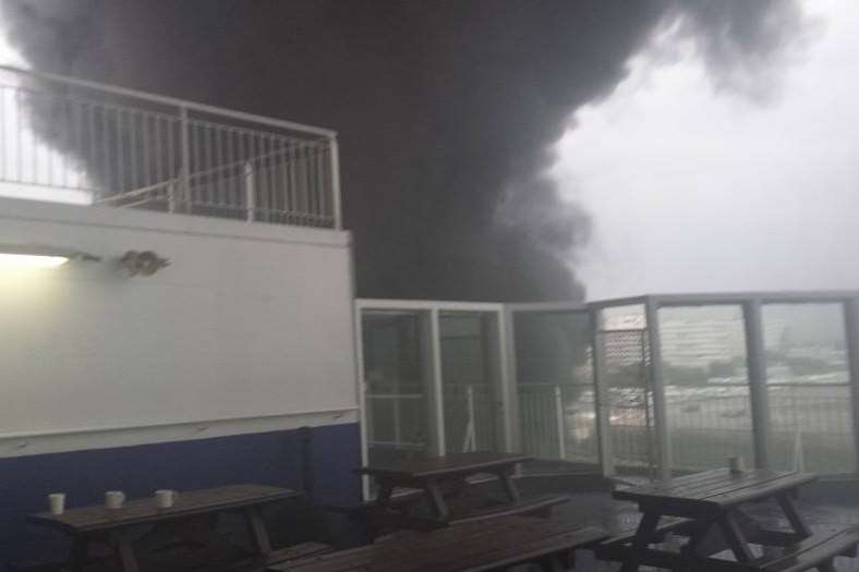 The fire broke out on the Pride of Canterbury ferry. Picture: Ed Sproston