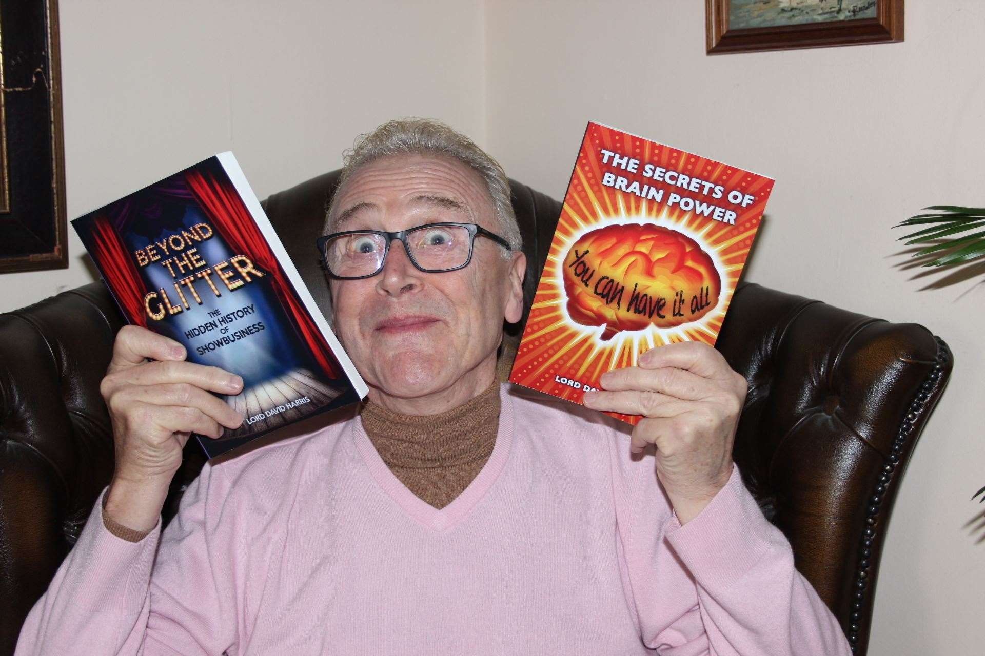 Comedian Paul Harris with his two books Beyond The Glitter and The Secrets of Brain Power at his home in Minster, Sheppey. Picture: John Nurden (20130336)