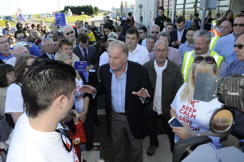 On the day of its closure, Sir Roger Gale explains to campaigners the latest offer by RiverOak to buy Manston has been turned down. Picture: Tony Flashman