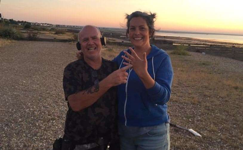 Metal detectorist, Kevin, with Kim and her recently found ring Pic: Kim Rojas (14492254)