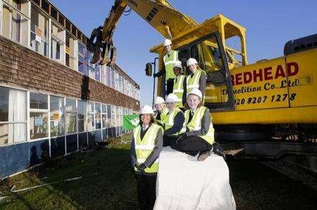 Pupils at Brompton Academy getting ready to have their school demolished