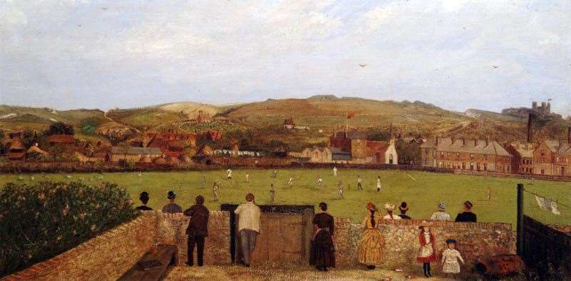 An 1887 painting by CG Hall of a cricket ground in Dover. Picture: Canterbury Auction Galleries
