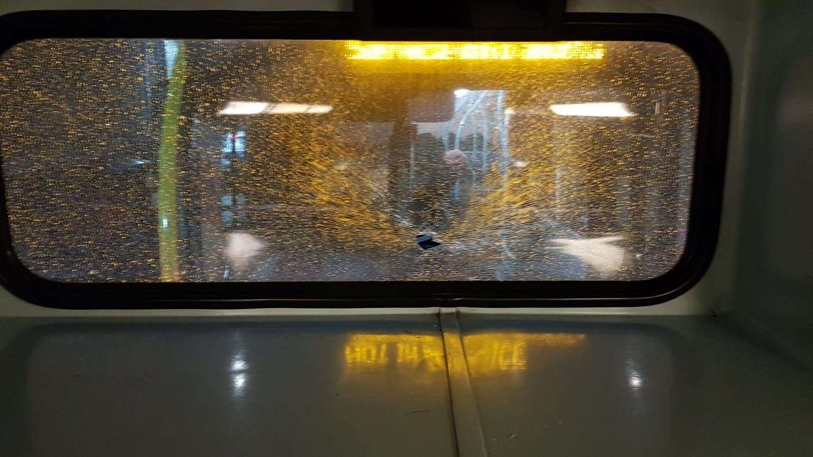 the back window of the 429 after being smashed by stones